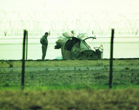 The wrecked escape pod of the F-111 after the 1992 crash