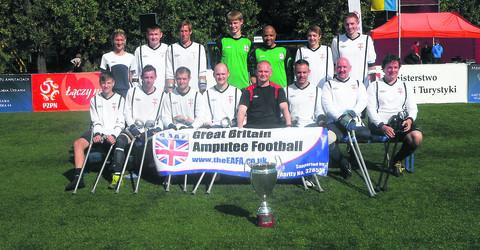 James Catchpole, front right, with the Great Britain Amputee Football Team