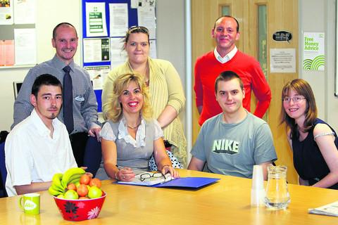 Back, from left, Takeetha Forster, Daniel Lawson-May, and, front, from left, Peter Stopps, Jacob Ayres and Claire Harris at the start of the We Want To Work campaign