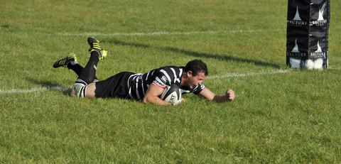 Chinnor flanker Liam Gilbert shows his delight after scoring their bonus-point try against Barking