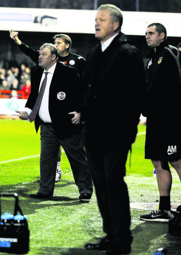 Steve Evans when Oxford visited Crawley last season