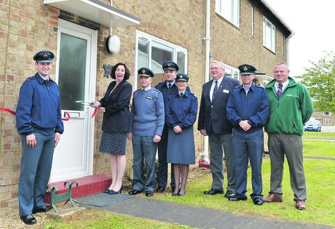 Nicky Pulford, wife of Air Marshal Pulford, Air Member for Personnel, Air Marshal Sir Dusty Miller, president of RAFA, Group Captain Steve Lushington, RAF Brize Norton station commander, and Flight Sergeant Jane Corban at the new homes