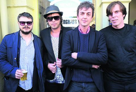 Supergrass, from left to right, Mick Quinn, Gaz Coombes, Danny Goffey and Rob Coombes at The Jericho Tavern in Oxford to unveil a Performing Right Society plaque