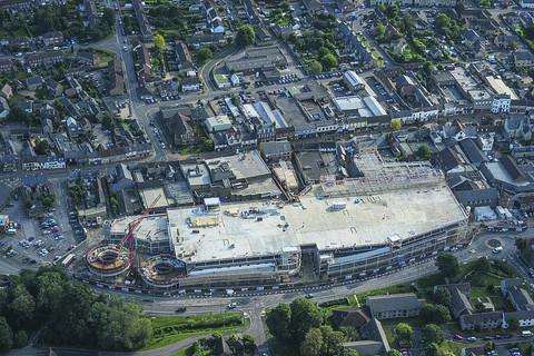 An aerial picture showing the scale of the development between Manorsfield Road and Sheep Street