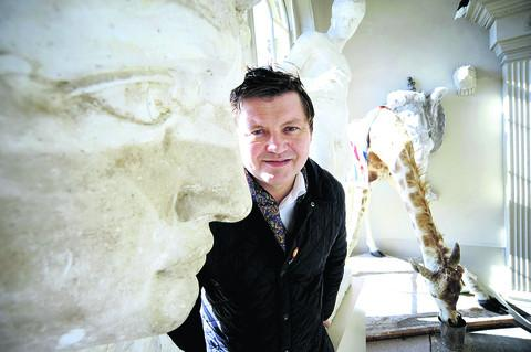 Aynhoe Park owner James Perkins with some of the objects in his art collection sold at auction