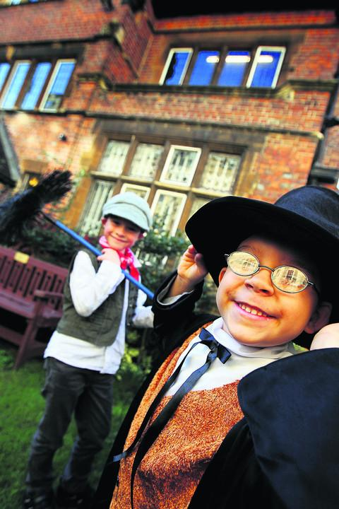 Pictured are James Baker, left, six, as a chimney sweep, and Sabre Supple, five, who got to wear a fetching top hat.Picture: OX54923 Ed Nix