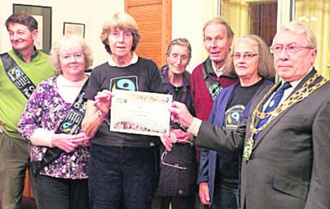 Witney Area Fair Trade Action Group members with mayor Harry Eaglestone