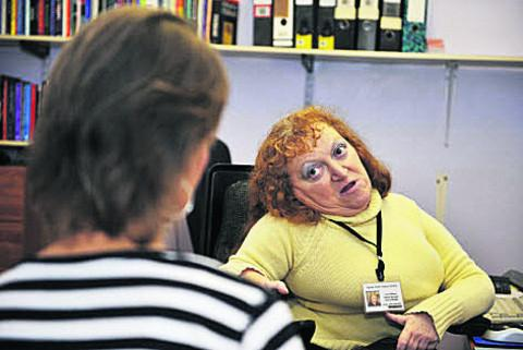 Laura Wilson, right, at Agnes Smith Advice Centre