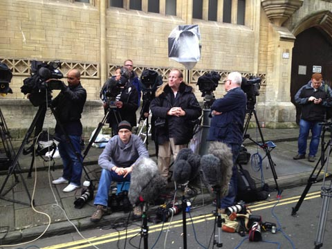 The press pack waiting outside Bristol Crown Court