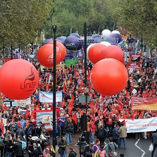 Demonstrators during the TUC organised march A Future That Works, London