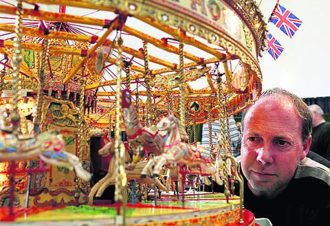 Martin Claridge with his model carousel