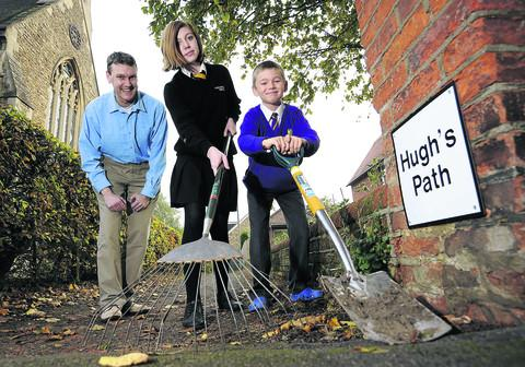 Cllr Iain Littlejohn with his children Rosie, 13, and Toby, nine, at the newly named Hugh's Path
