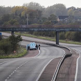 The scene on Northern Ireland's M1 motorway where prison officer David Black was shot dead