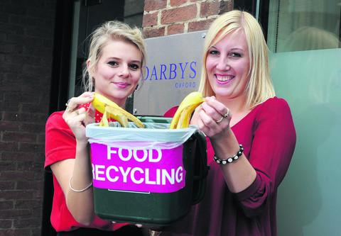 Matilda Pignegui, left, and Laura Peach of Darbys with the office food waste bin