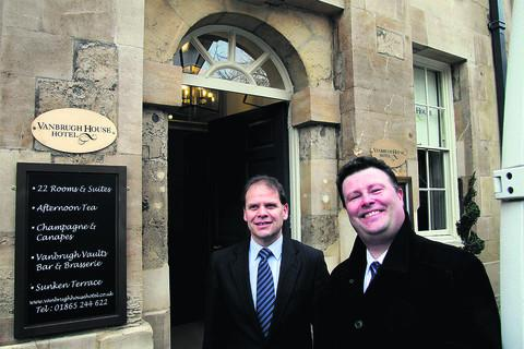 Welcome: Clive Viner, left, and Colin Rice outside the new hotel in St Michael's Steet, Oxford