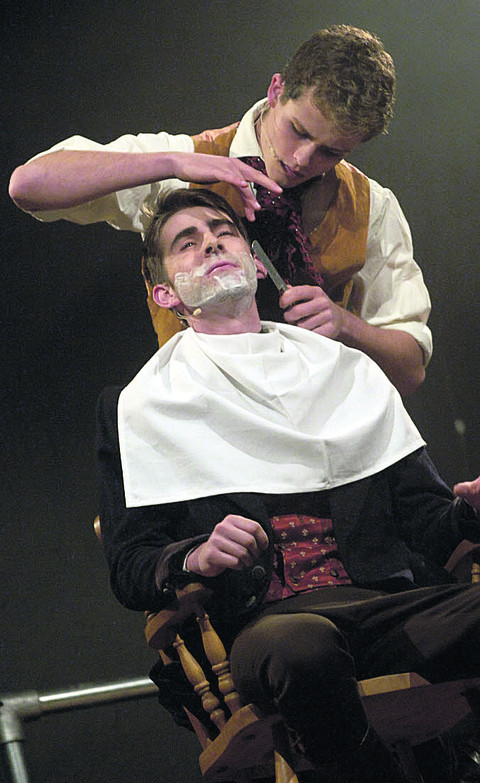 James Digby as barber Sweeney Todd and Ollie Burrows as Judge Turpin