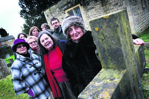 Jennifer Carpenter and other residents in the churchyard at Holy Trinity