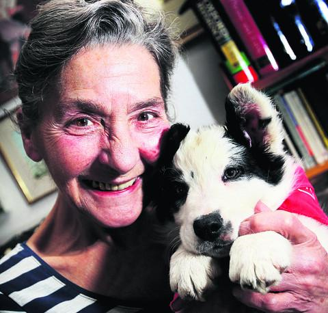 Helen Peacocke with her new puppy