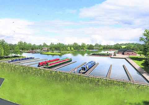 An artist's impression of the plans for a canal marina at Yarnton