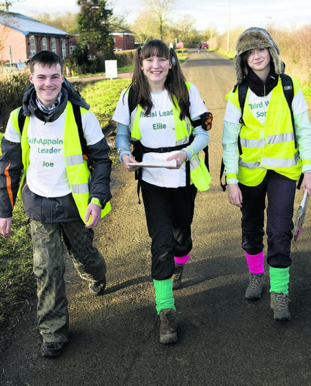 Explorer Scouts Ellie Boot, centre, Joe McElligott and Sophie Mitchell