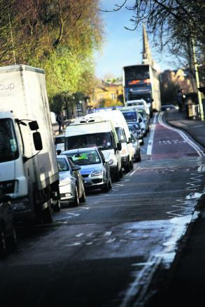 Queues on Oxford's Botley Road yesterday