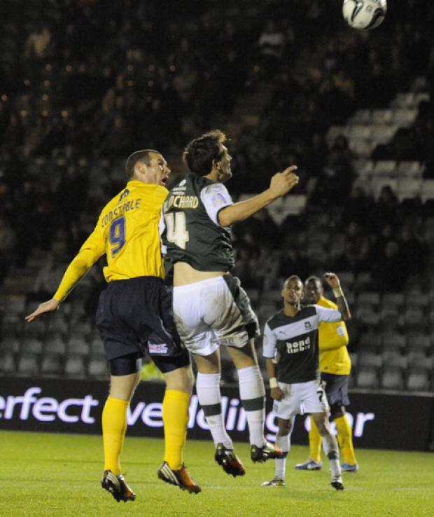 James Constable equalises for Oxford United at Plymouth