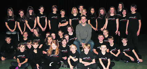 Dave Rose with students at the West Oxfordshire Academy of Performing Arts