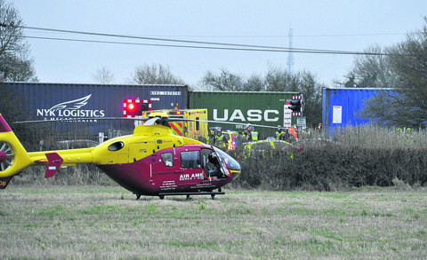 An air ambulance at the scene