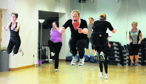 Freelance fitness instructor Claire Westlake, 34, front, from Witney, led the Body Attack session