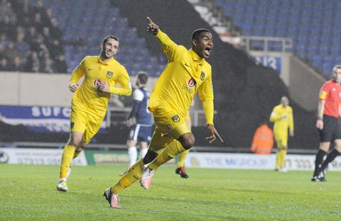 Tyrone Marsh celebrates his goal