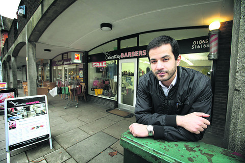 Muath Abujazar outside his business, Oxford City Barbers in Little Clarendon Street, which was broken into twice over Christmas and the New Year costing him £5,000