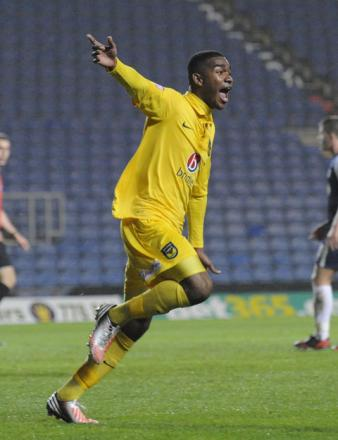 Tyrone Marsh wheels away after scoring his first-ever goal for Oxford United against Southend on Tuesday night