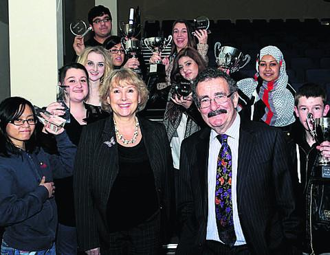 Professor Lord Robert Winston and headteacher Sue Croft with prizewinners, including Salma Haque, second right, at Oxford Spires Academy on Tuesday night