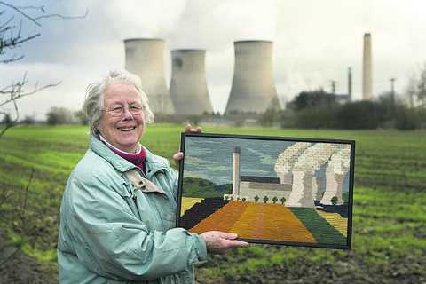 Christine Usherwood with her embroidery of Didcot power station