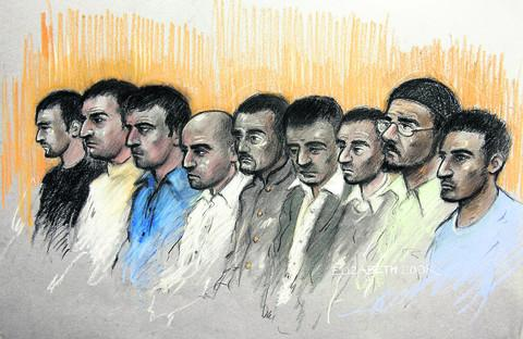 The Oxford Times: Court artist sketch of the defendants at the Old Bailey, from left, Kamar Jamil, Akhtar Dogar, Anjum Dogar, Assad Hussain, Mohammed Karrar, Bassam Karrar, Mohammed Hussain, Zeeshan Ahmed and Bilal Ahmed