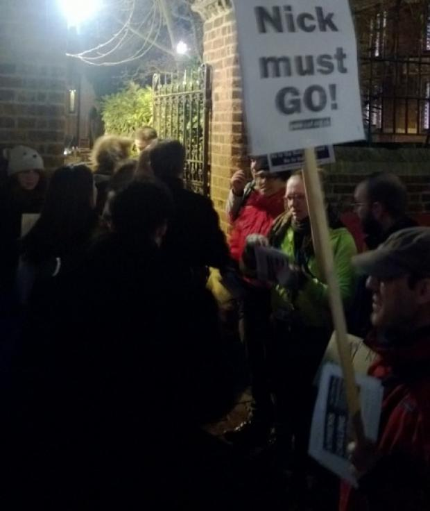 Protesters outside the Oxford Union tonight