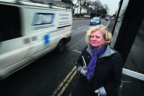 Councillor Roz Smith at the bus stop on the London route
