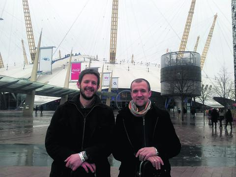 Greg Hooper, left, and Gordo Francis outside the O2 Arena before Saturday's Open Mic UK final