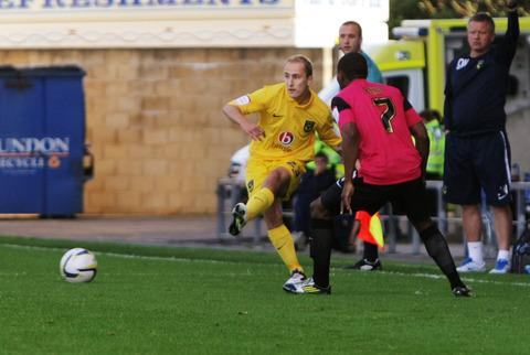 The Oxford Times: Luke O'Brien in action for United against Bradford