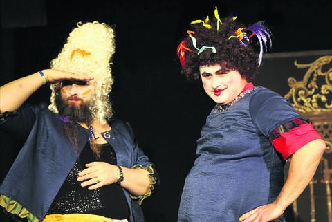 Primary School teacher Dave Lambert as ugly sister Griselda, left, and Dave Molan as Gertrude