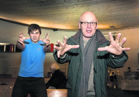 Choir director Trevor Davies rehearses with Sheldon Smith, who plays Joseph. Picture: OX56967 Antony Moore