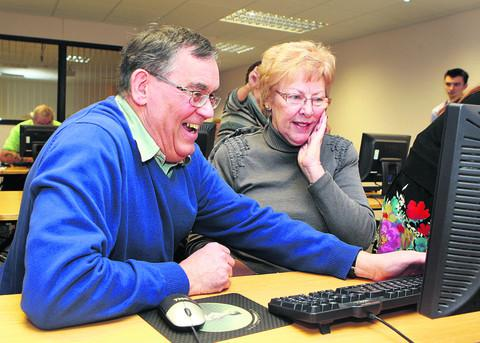 Volunteer course tutor Robert Medcraft, 66, with Carole Parker