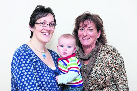 Pauline Ellaway, left, the Regional Midwife of the Year for the South & Midlands, who was nominated by Emily Townsend, pictured with her son, Douglas