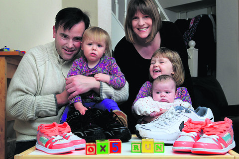READY TO RUN: Nathan and Kay Thomas will be on the starting line for the OX5 Run to say thanks for the treatment their children, Molly, three, Daisy, one, and 10-week-old Emily received at the Oxford Children's Hospital