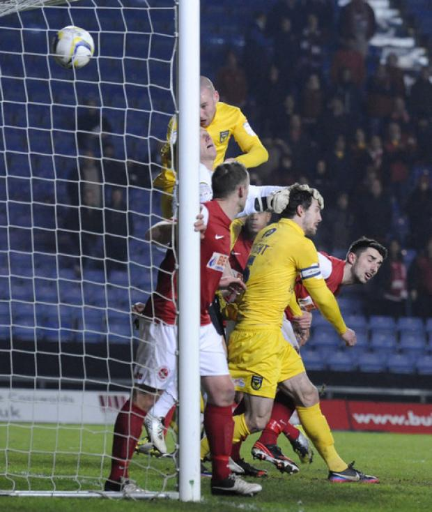 Oxford United's Deane Smalley had this header disallowed