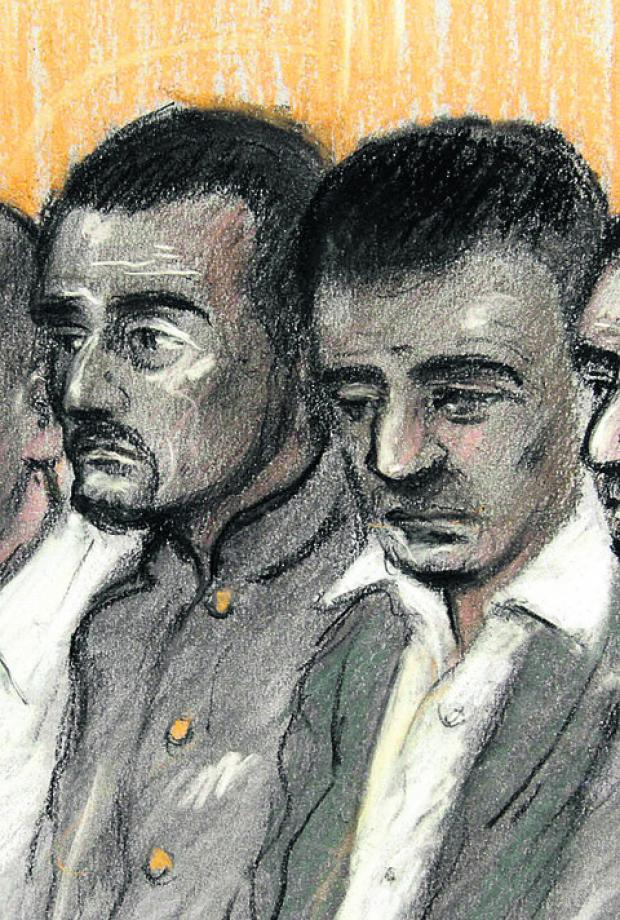 Court sketch of Mohammed, left, and Bassam Karrar
