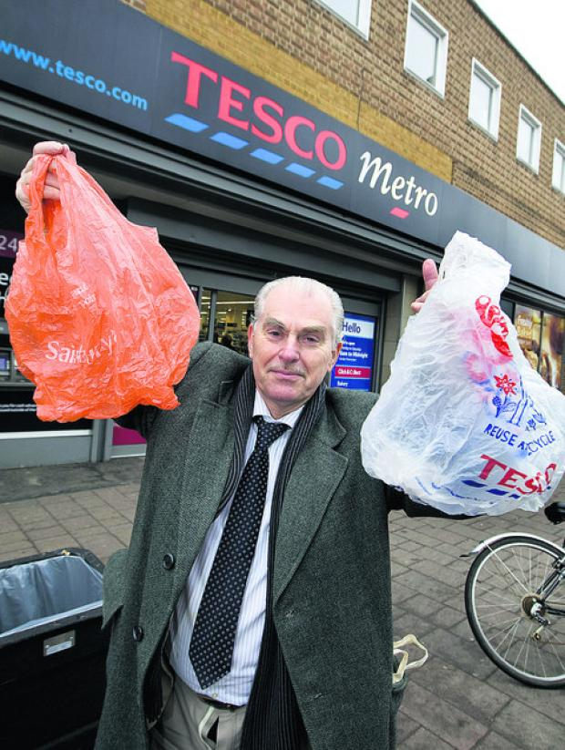 City councillor Graham Jones has taken up the fight for a levy on plastic bags to cut the 30 million used in Oxfordshire every year