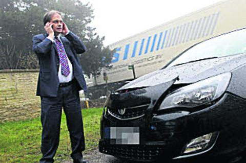 David Pope calls his insurers after the A420 accident