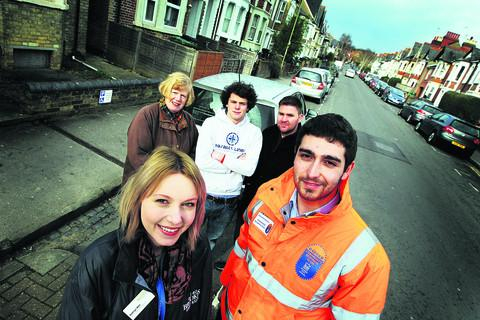 Student warden Kathryn Weir and city council community response officer Aiden Green, front, with, back from left, Elizabeth Mills, chairman of Divinity Road Area Residents' Association, Hugo Hodgson, student, and Craig Freeman from the city council