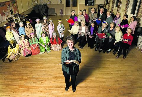 Mary Ross, centre, with members of the Lime Walk Players